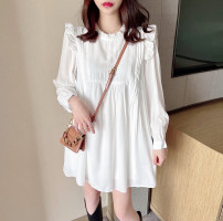 Dress Spring 2021 White black S M L Short skirt singleton  Long sleeves commute Crew neck High waist Solid color Socket A-line skirt routine Others 18-24 years old Type A Jonana Korean version Lotus leaf edge More than 95% Chiffon other Other 100% Pure e-commerce (online only)