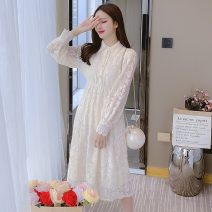 Dress Spring 2021 Apricot S M L XL Mid length dress singleton  Long sleeves commute Polo collar High waist Solid color Socket Pleated skirt routine Others 25-29 years old Type A Korean version Lace More than 95% Lace other Other 100% Pure e-commerce (online only)