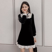 Dress Spring 2021 black S M L XL Short skirt singleton  Long sleeves commute Crew neck High waist Solid color Socket A-line skirt routine Others 25-29 years old Type A Jonana Korean version Lotus leaf edge More than 95% Lace other Other 100% Pure e-commerce (online only)