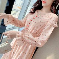 Dress Winter of 2019 Picture color S M L XL Mid length dress singleton  Long sleeves commute V-neck Elastic waist Solid color Single breasted Big swing pagoda sleeve Others 18-24 years old Type A Jonana Simplicity YWBB61128 More than 95% Chiffon other Other 100% Pure e-commerce (online only)