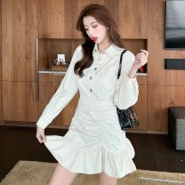 Dress Spring 2021 Black apricot S M L XL Short skirt singleton  Long sleeves commute V-neck High waist Solid color Socket Princess Dress Princess sleeve Others 25-29 years old Jonana Korean version More than 95% other Other 100% Pure e-commerce (online only)