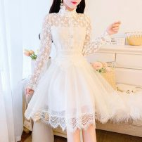 Dress Spring 2021 white S M L Short skirt singleton  Long sleeves commute stand collar High waist Solid color Socket A-line skirt routine Others 25-29 years old Type A Jonana lady Lace More than 95% Lace other Other 100% Pure e-commerce (online only)