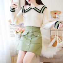 Fashion suit Autumn of 2019 S M L Single beat green skirt single beat off white top 18-25 years old Jonana Other 100% Pure e-commerce (online only)