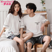 Pajamas / housewear set lovers Dream Zhuoli cotton Short sleeve Simplicity pajamas summer Thin money Crew neck Cartoon animation shorts Socket youth 2 pieces rubber string More than 95% pure cotton printing Cotton 100% Summer of 2019