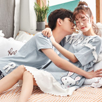 Pajamas / housewear set lovers Dream Zhuoli cotton Short sleeve Simplicity pajamas summer Thin money Crew neck stripe shorts Socket youth 2 pieces rubber string More than 95% pure cotton printing G8818 Cotton 100% Summer of 2018 Pure e-commerce (online only) Middle-skirt