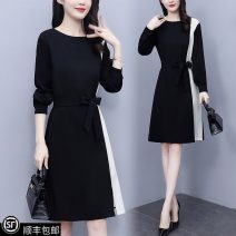 Women's large Spring 2021 black L (recommended 100-115 kg), XL (recommended 115-130 kg), 2XL (recommended 130-145 kg), 3XL (recommended 145-160 kg), 4XL (recommended 160-180 kg), 5XL (recommended 180-200 kg), collection and purchase ★ priority delivery Dress singleton  commute Self cultivation thin