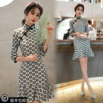Dress Spring 2021 green S [recommended 80-90 Jin], m [recommended 90-100 Jin], l [recommended 100-116 Jin], XL [recommended 116-130 Jin], 2XL [recommended 130-145 Jin], 3XL [recommended 145-160 Jin], 4XL [recommended 160-180 Jin], 5XL [recommended 180-200 Jin] Short skirt singleton  Long sleeves