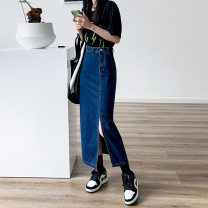 skirt Summer 2021 XS S M L XL 012 # light blue 012 # dark blue Mid length dress commute High waist A-line skirt Solid color Type A 18-24 years old WY012 More than 95% Denim Weiyu cotton Korean version Cotton 96% other 4% Pure e-commerce (online only)