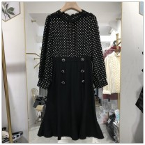 Dress Spring 2021 black M,L,XL,2XL Mid length dress singleton  Long sleeves commute Crew neck middle-waisted Dot Single breasted other routine Others 25-29 years old Type A Simplicity Button, pocket 31% (inclusive) - 50% (inclusive) polyester fiber
