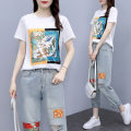 Women's large Summer 2021 Group 5039 white suit M L 1XL 2XL 3XL 4XL Other oversize styles Two piece set commute easy thin Socket Short sleeve Decor Korean version Crew neck routine polyester Three dimensional cutting other 5039 ᦇ real shot ᦇ T-shirt pure cotton Minnie bird 25-29 years old pocket