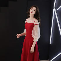 Dress / evening wear Weddings, adulthood parties, company annual meetings, daily appointments S M L XL Korean version longuette High waist Autumn of 2018 Self cultivation One shoulder zipper 18-25 years old Black (medium length 120cm) KaFei show puff sleeve Other 100% Pure e-commerce (online only)
