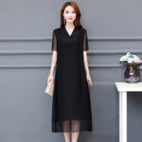 Women's large Summer 2020 Dress singleton  commute easy moderate Socket Short sleeve Solid color Korean version V-neck polyester Three dimensional cutting routine SUS.VIV.CIC/ Xuan weiqi 30-34 years old Embroidery Medium length Other polyester 95% 5% Pure e-commerce (online only)