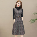 Women's large Autumn of 2019 Black and white black pink Dress Two piece set commute Self cultivation moderate Socket Long sleeves lattice Korean version Half high collar polyester Three dimensional cutting routine SUS.VIV.CIC/ Xuan weiqi 25-29 years old pocket Medium length Other polyester 95% 5%