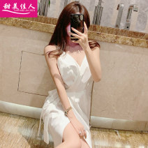 Dress Spring of 2019 White black S M L Short skirt singleton  Sleeveless commute V-neck High waist Solid color Socket A-line skirt routine camisole 18-24 years old Type X Sweet girl Korean version Open back lace More than 95% brocade polyester fiber Other polyester 95% 5%