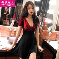 Dress Summer of 2019 Picture color S M L XL Short skirt singleton  Short sleeve commute V-neck High waist Solid color Socket Princess Dress routine Others 18-24 years old Type A Sweet girl Korean version Splicing T39616# More than 95% brocade polyester fiber Other polyester 95% 5%