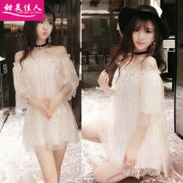 Dress Summer of 2018 Apricot Average size Short skirt singleton  Short sleeve commute One word collar High waist Solid color Socket One pace skirt Sleeve Breast wrapping 18-24 years old Type A Sweet girl Korean version Backless net T50291# More than 95% organza  polyester fiber Other polyester 95% 5%
