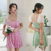 one piece  Tagkita / she and others L [recommended 90-105 kg], m [recommended 80-95 kg], XL [recommended 100-120 kg] Green, blue, 2003 pink, 2003 yellow, 2003 green, pink No chest pad female Short sleeve Casual swimsuit lattice