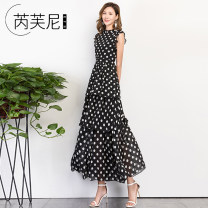 Dress Spring of 2019 Dot S M L XL XXL XXXL Mid length dress singleton  Sleeveless commute Crew neck High waist Dot zipper Cake skirt other Others 25-29 years old Type A Rivney Korean version Pleated Auricularia zipper More than 95% Chiffon polyester fiber Polyester 100% Pure e-commerce (online only)