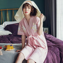 Nightdress S M L XL XXL XXXL sexy Long sleeves pajamas Middle-skirt summer Solid color youth V-neck cotton Mosaic decoration More than 95% pure cotton 200g and below Spring of 2018 Cotton 100% Pure e-commerce (online only)