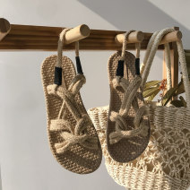 Sandals 35 36 37 38 39 40 Khaki black Textile Dinino Barefoot Flat bottom Low heel (1-3cm) Summer 2020 Trochanter Korean version Solid color Adhesive shoes Youth (18-40 years old) rubber sandy beach Back space Crisscross bandages and thin strips combine Roman style Low Gang Lateral space PU PU