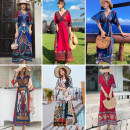 Dress Summer of 2019 Red, blue, green, orange, retro decor, retro red, retro print S,M,L,XL,2XL longuette singleton  elbow sleeve Sweet V-neck Elastic waist Abstract pattern Socket other Bat sleeve Others 25-29 years old Type A Other / other printing 81% (inclusive) - 90% (inclusive) Chiffon other