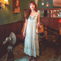 Dress Summer 2020 White, black S,M,L,XL longuette singleton  Sleeveless commute V-neck Loose waist Solid color Socket Big swing routine camisole 18-24 years old Type A ethnic style Hollow out, embroidery 71% (inclusive) - 80% (inclusive) brocade cotton
