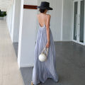 Dress Summer of 2019 Psychedelic ash S,M,L,XL longuette singleton  Sleeveless commute V-neck High waist Solid color Socket Big swing routine camisole 25-29 years old Type A Other / other Retro backless 51% (inclusive) - 70% (inclusive) Chiffon polyester fiber