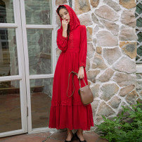 Dress Summer of 2019 Red, white S,M,L,XL longuette singleton  Long sleeves commute Hood High waist Solid color Socket Big swing shirt sleeve Others 25-29 years old Type A Retro Lace 81% (inclusive) - 90% (inclusive) Chiffon polyester fiber