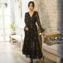 Dress Autumn of 2019 black S,M,L,XL longuette singleton  Long sleeves commute V-neck High waist Decor Socket Big swing pagoda sleeve Others 25-29 years old Type A Other / other Retro Lace 81% (inclusive) - 90% (inclusive) Chiffon polyester fiber