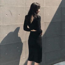 Dress Autumn 2020 Black Long Sleeve Black Short Sleeve S M L XL 2XL Middle-skirt singleton  Long sleeves commute Crew neck High waist Solid color Socket One pace skirt routine Others 25-29 years old T-type Cofigo Korean version Open back zipper More than 95% other polyester fiber
