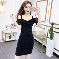 Dress Summer of 2019 black S M L XL Short skirt singleton  Short sleeve commute V-neck High waist Solid color Socket One pace skirt routine Others 18-24 years old T-type Cofigo Korean version More than 95% other polyester fiber Other polyester 95% 5% Pure e-commerce (online only)