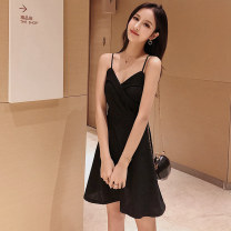 Dress Summer of 2019 Black Navy S M L XL Short skirt singleton  Sleeveless commute V-neck High waist Solid color Socket A-line skirt other camisole 18-24 years old Type A Cofigo Korean version backless KB691 More than 95% other polyester fiber Other polyester 95% 5% Pure e-commerce (online only)
