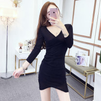 Dress Autumn of 2019 Silver Gold Black S M L XL Short skirt singleton  Long sleeves commute V-neck High waist Solid color Socket One pace skirt routine Others 25-29 years old T-type Cofigo Korean version Bright silk splicing XY5719 More than 95% other polyester fiber Other polyester 95% 5%