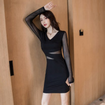 Dress Autumn of 2019 black S M L XL Short skirt singleton  Long sleeves commute V-neck High waist Solid color Socket One pace skirt routine Others 25-29 years old T-type Cofigo Korean version Stitched mesh zipper More than 95% other polyester fiber Other polyester 95% 5% Pure e-commerce (online only)