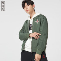 Jacket Journey to the West other Black old army green S M L XL XXL routine standard go to work autumn 204IMTH063 Polyamide fiber (nylon) 100% Long sleeves Wear out Baseball collar Chinese style youth short Zipper placket Rib hem Closing sleeve Autumn 2020 Rib bottom pendulum nylon More than 95%