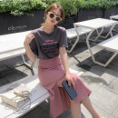 Fashion suit Summer 2021 S M L XL White T-shirt grey T-Shirt Pink Skirt Black Skirt grey T-shirt + Pink skirt (suit) T-Shirt + Black skirt (suit) 18-25 years old Galadeer / Ganlu daz3 cotton Other 100% Pure e-commerce (online only)