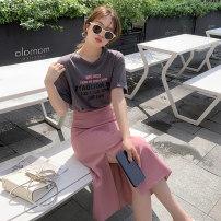 Fashion suit Summer 2021 S M L XL White T-shirt grey T-Shirt Pink Skirt Black Skirt grey T-shirt + Pink skirt (suit) T-Shirt + Black skirt (suit) 18-25 years old Galadeer / Ganlu daz3 cotton Other 100% Pure e-commerce (online only)