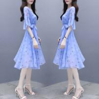 Dress Summer 2021 Blue, black, white vest M,L,XL,2XL,3XL Mid length dress Short sleeve