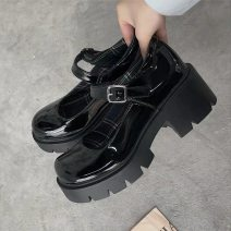 Low top shoes 35 36 37 38 39 Qiankanuo Black upgrade black Round head PU Square heel High heel (5-8cm) Shallow mouth PU Summer 2020 Flat buckle leisure time Adhesive shoes Youth (18-40 years old) Solid color rubber Single shoes PU leisure time Huashida & y2088 Exclusive payment of tmall