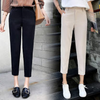 Casual pants Black apricot Caramel XS S M L XL 2XL Winter of 2018 Ninth pants Haren pants High waist commute Thin money 18-24 years old 91% (inclusive) - 95% (inclusive) Crnagoose / Xiangna goose Cotton blended fabric Korean version Double waistband Other 100% Asymmetry