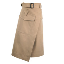 skirt Summer of 2018 XS S M L XL Mid length dress commute High waist A-line skirt Solid color Type A 25-29 years old More than 95% Crnagoose / Xiangna goose other Ol style PU