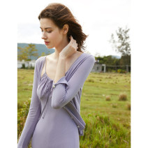 Wool knitwear Summer 2020 XS S M L Lavender purple rainforest green Long sleeves singleton  Cardigan Viscose 81% (inclusive) - 90% (inclusive) have cash less than that is registered in the accounts Thin money Self cultivation V-neck routine Solid color Single breasted SS20W017 30-34 years old thread