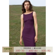 Dress Summer 2021 Reminiscent purple black XS S M L Mid length dress singleton  Sleeveless street High waist Solid color Socket One pace skirt camisole 30-34 years old Type X Mix Selection chain SS21Q031 30% and below knitting nylon Regenerated cellulose 80% polyamide 20% Europe and America