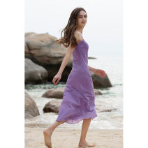 Dress Spring 2021 Dream purple silk velvet frost grey silk velvet XS S M L Mid length dress singleton  Sleeveless street Crew neck High waist Solid color Socket Big swing other camisole 30-34 years old T-type Mix Selection backless SS21Q023 More than 95% silk Mulberry silk 100% Europe and America