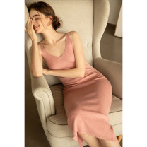 Dress Spring 2020 Heteropollen L XS S M Mid length dress singleton  Sleeveless commute V-neck High waist Decor Socket One pace skirt other camisole 30-34 years old Type H Mix Selection lady AW19Q112 31% (inclusive) - 50% (inclusive) knitting acrylic fibres Pure e-commerce (online only)