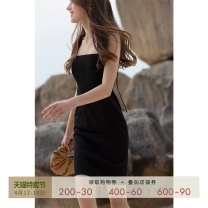 Dress Spring 2021 Black apricot XS S M L Short skirt singleton  Sleeveless commute One word collar High waist Solid color Socket One pace skirt routine camisole 30-34 years old Type H Mix Selection Simplicity backless SS20Q073-B 91% (inclusive) - 95% (inclusive) polyester fiber