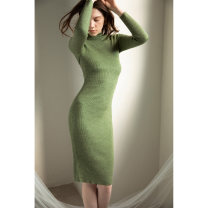 Dress Winter 2020 Crystal Green XS S M L Mid length dress singleton  Long sleeves commute Half high collar High waist Solid color Socket Pencil skirt routine Others 30-34 years old Type H Mix Selection Simplicity thread AW20Q120 51% (inclusive) - 70% (inclusive) knitting acrylic fibres