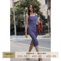 Dress Spring 2021 wisteria  XS S M L Mid length dress singleton  Sleeveless Sweet One word collar High waist Solid color Socket One pace skirt other camisole 30-34 years old T-type Mix Selection thread AW20Q144 31% (inclusive) - 50% (inclusive) knitting wool Ruili Exclusive payment of tmall