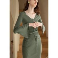 Fashion suit Spring 2021 XS S M L Grey green cardigan grey green half skirt grey green suit 25-35 years old Mix Selection SS21W005+SS21Q026 30% and below wool Polyacrylonitrile fiber (acrylic fiber) 45% wool 30% polyamide fiber (nylon fiber) 25%