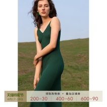 Dress Summer 2021 Retro Green Rice with yellow fragrance XS S M L Mid length dress singleton  Sleeveless commute V-neck High waist Solid color Socket other routine camisole 25-29 years old T-type Mix Selection Retro thread SS20Q112 - B 31% (inclusive) - 50% (inclusive) knitting nylon